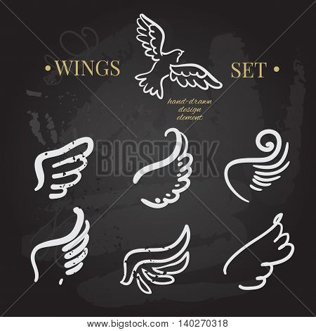 vector doodle wings set. angel wings collection, hand-drawn illustration of design elements.