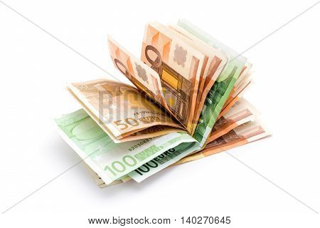 Money euro banknotes. Cash isolated on white