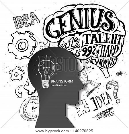 Set of thinking doodles elements vector illustration hand drawn. Vector banners