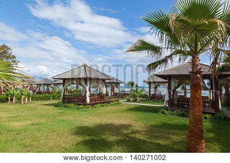 There are wooden sheds on the coast among palm treesWooden sheds among palm trees