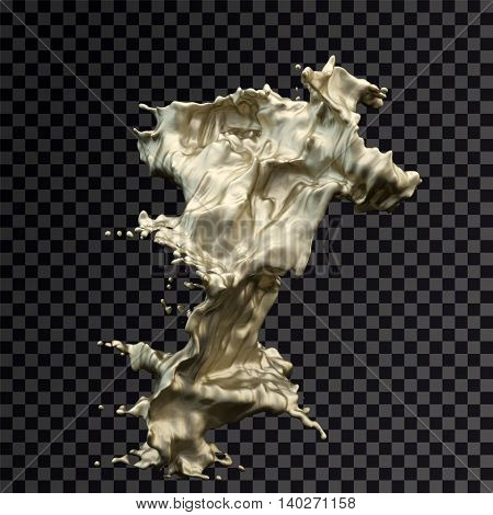 Isolated splash of gold on a black rendering transparent background.3D illustration.