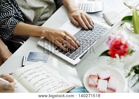 Workspace Laptop Analysis Technology Working Concept