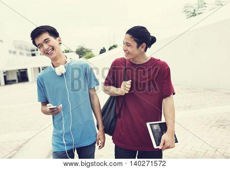 Friends Laughing Technology Headphones Concept