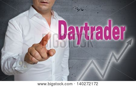 daytrader touchscreen is operated by man background