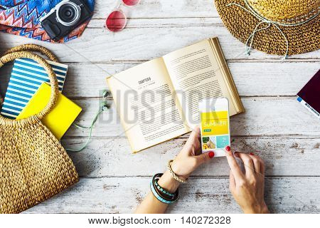 Summer Holiday Book Mobile Browsing Concept