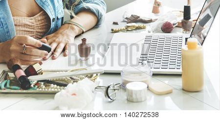 Female Manicure Smiling Laptop Concept