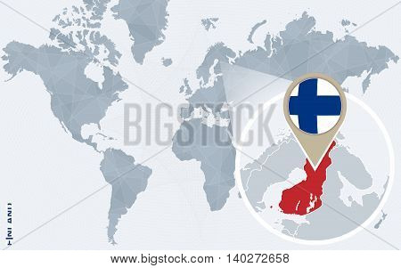 Abstract Blue World Map With Magnified Finland.