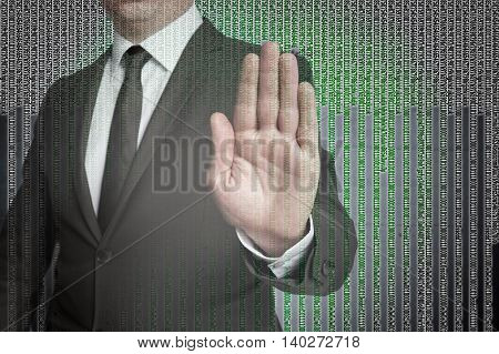 Handstop With Matrix Is Shown By Businessman