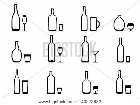 Set of black and white icons of the bottle with the appropriate glasses
