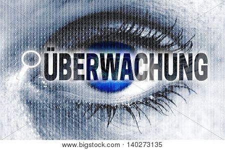 Ueberwachung (in German Monitoring) Eye Looks At Viewer Concept
