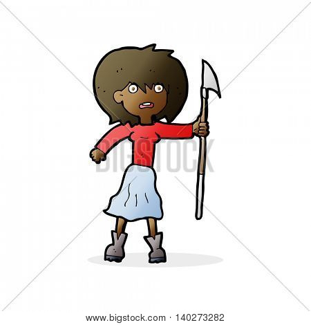 cartoon woman with harpoon