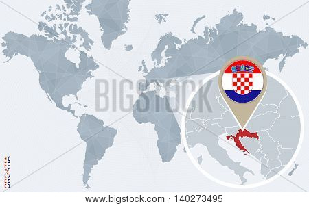 Abstract Blue World Map With Magnified Croatia.