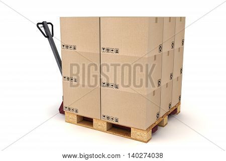 3D illustration of Cardboard boxes on pallet and hand forklift. Cargo delivery and transportation logistics storage.