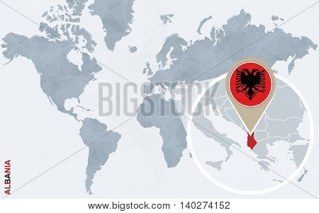 Abstract Blue World Map With Magnified Albania.