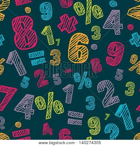 Sketch Multicolor Numbers Seamless Pattern. Dark Colorful Vector Background.