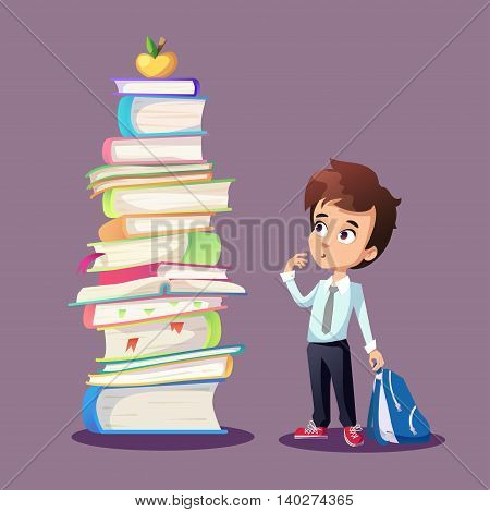 Illustration about schoolkid looking at big pile of books and golden apple. Cartoon funny boy holding backpack.