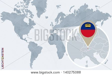 Abstract Blue World Map With Magnified Liechtenstein.
