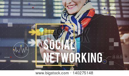 Social Networking Technology Businesswoman Concept