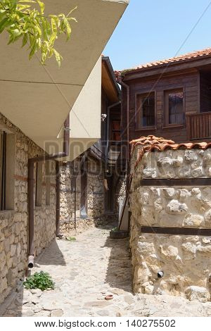 Nessebar, Bulgaria, Juny 18, 2016: Architectural Solutions Nessebar Old Town Buildings. Residential