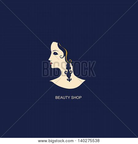 Beautiful girl in profile. Logo for beauty shop or spa salon cosmetics fashion themes. Vector illustration.
