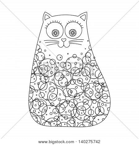 Doodle cat with dots and circles. Vector hand drawn cute cat with doodle ornament. Isolated. Fun design for kids. Black and white.