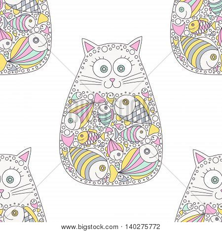 Cat and fish.Vector seamless pattern with hand drawn cat with fish in stomach. Doodle cat for kids design. Cute kitten. Pink yellow green grey black and white colors.