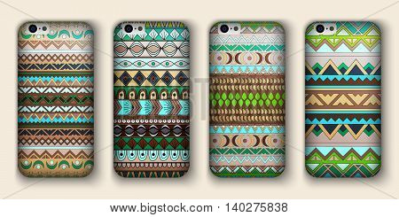 Set Of Eight Covers For Your Mobile Phone. Vector Decorative Ethnic Backgrounds.