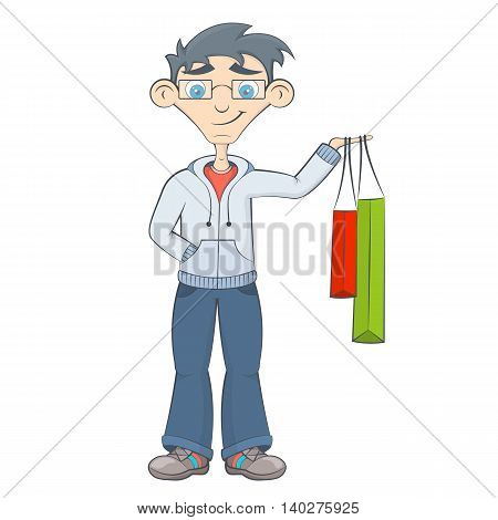 Man with shopping bags. Teenager keeps purchases in his hand. Happy boy after sale in the market. Cartoon style