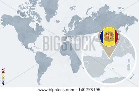 Abstract Blue World Map With Magnified Andorra.