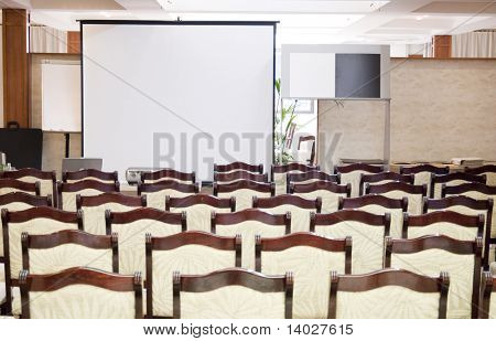 Portrait photo of blank conference room