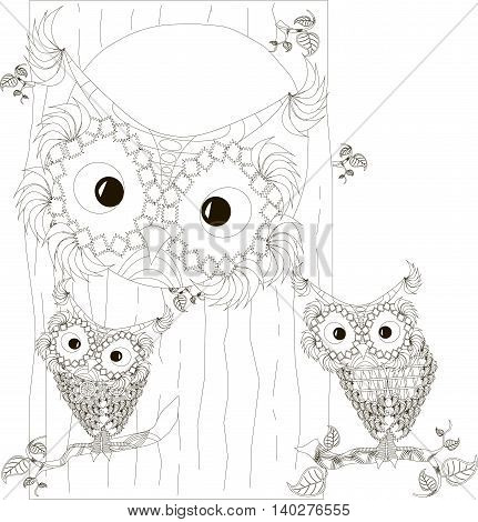 Zentangle, stylized black and white owls family sitting in the hollow and on branches of tree trunk, hand drawn, vector illustration