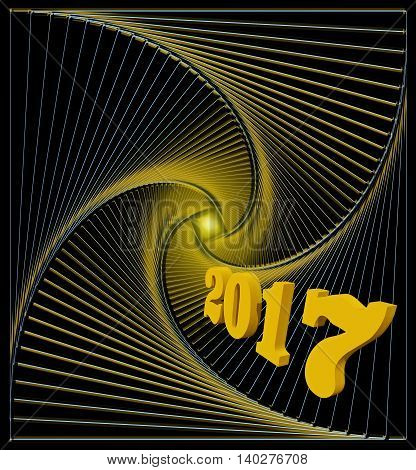 Happy new 2017 year. Light at the end of the abstract spiral tunnel - hopes for happiness joy and fulfillment of desires - conсeptual illustration