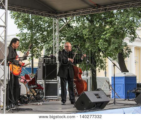 St. Petersburg, Russia - 23 July, Outdoor summer scene, 23 July, 2016. Speech by David Goloschekin with his jazz group on the Arts Square in St. Petersburg.