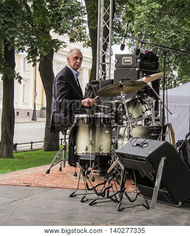 St. Petersburg, Russia - 23 July, Musician on drums, 23 July, 2016. Speech by David Goloschekin with his jazz group on the Arts Square in St. Petersburg.