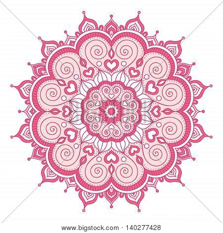 Vector hand drawn doodle mandala with hearts. Ethnic mandala with colorful ornament. Isolated. Light pink colors.