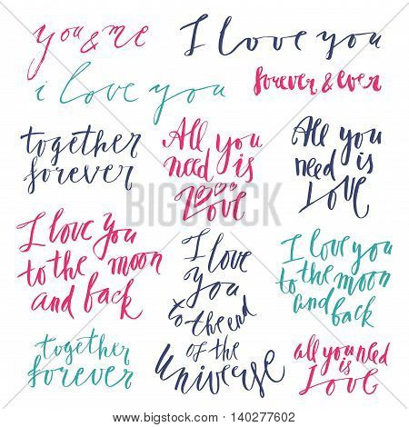 Vector lettering with love related phrases, handwritten quotes and words