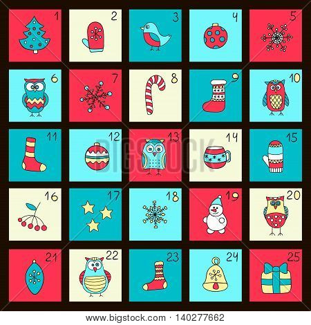 Advent calendar. Vector Christmas card with doodle winter elements - owls socks snowflake snowman cups mittens. Red yellow green and blue colors.