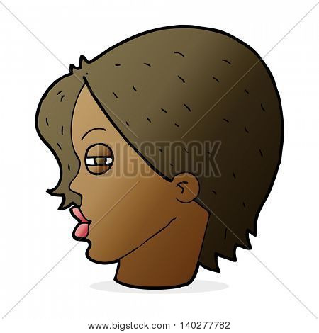 cartoon female face with narrowed eyes