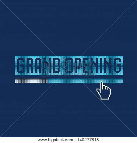 Grand opening vector illustration background. Design element with loading bar web internet hand pointer click symbol for banner flyer design element for opening event