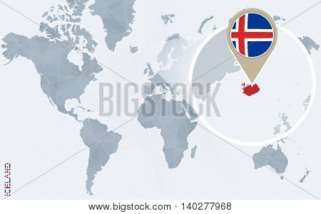 Abstract Blue World Map With Magnified Iceland.