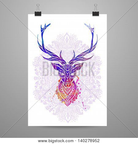 Ornament deer vector. Beautiful illustration deer  for design, print clothing, stickers, tattoos, Adult Coloring book. Hand drawn animal illustration. Ornamental deer lace
