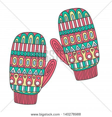 Hand drawn doodle winter mittens with ornament. Pink yellow blue green and white colors