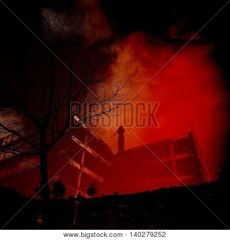 Scary ghost woman in Haunted Building,Horror background for book cover