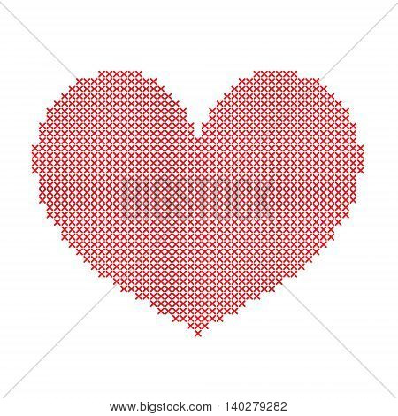 Hand-made big red heart embroidered with a cross isolated on white background. Art vector illustration.