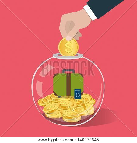 Money Saving Concept. Hand Putting A Coin Into Glass Bottle. Travel Savings Concept.