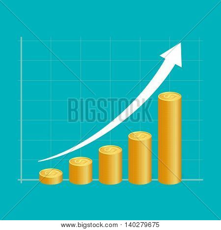 Financial Success Concept. Stacks Of Golden Coins With Graph.