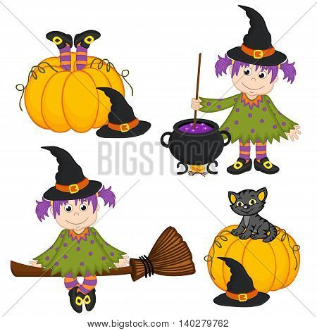 set of isolated Halloween witch and black cat- vector illustration, eps