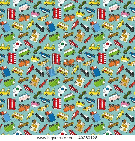 Seamless pattern with various cars, trucks and vans vector