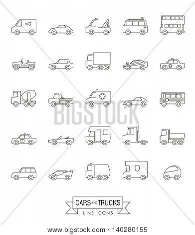 Cars, vans and other motor vehicles line icon set