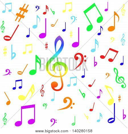 Seamless pattern with colourful music notes and white background. Vector.